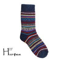 ポルトガル製ウールソックス 【H-Foot wear】 フェアアイル柄 ネイビー レディースフリー