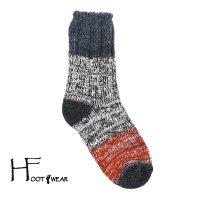 ポルトガル製ウールソックス 【H-Foot wear】 PANNEAU NV×GY×RE 男女兼用(23-27cm)