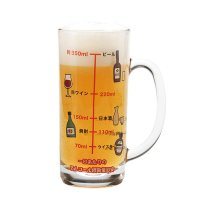 アルコール摂取量目安目盛り付き グラスジョッキ ビールジョッキ