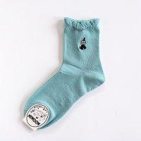 MOOMIN-ムーミン リトルミイ ワンポイント刺繍 ロークルーソックス ミントグリーン レディス23-25cm