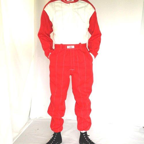 レーシングツナギ1レイヤー(2色使い)レッド/オフホワイト