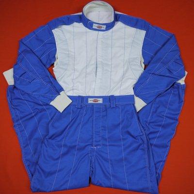 レーシング・ツナギ1レイヤー(2色使い)ブルー/オフホワイト