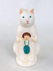 陶製人形 「ねこかまくら・白ねこ」   にしおゆき