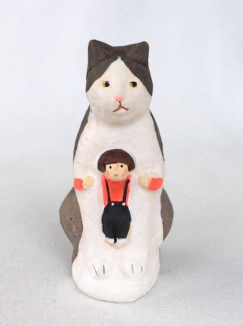 陶製人形 「ねこかまくら・ハチワレねこ」   にしおゆき