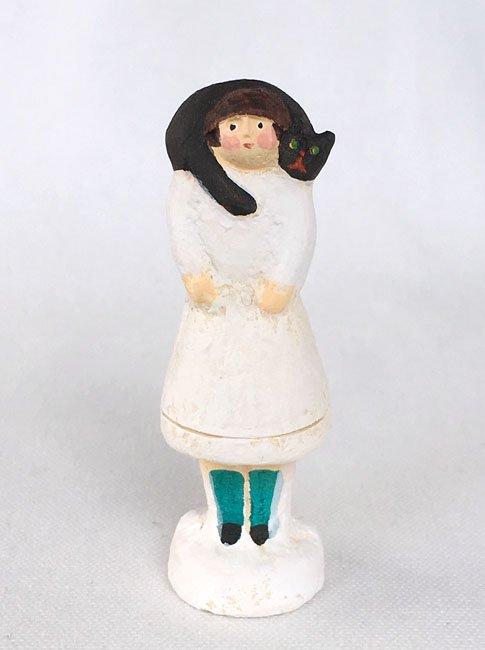 陶製人形 「ねこマフラー・黒ねこ」   にしおゆき