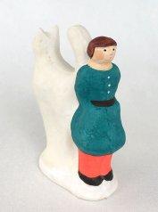 陶製人形 「大きなしっぽ・白ねこ」   にしおゆき