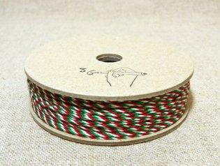 36オリジナル 3色 コットンミックス紐 50m 緑・赤・白