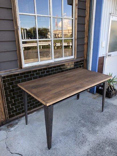 オークダイニングテーブル 黒皮鉄脚 W1500 D800