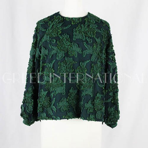 予約商品【GREED international】グリードインターナショナル/FLOWER SHEER JACQUARD Puff Blouse 18aw予約
