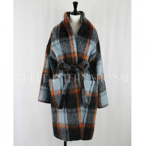 GREED international<br />CHECK SHAGGY Gown Coat
