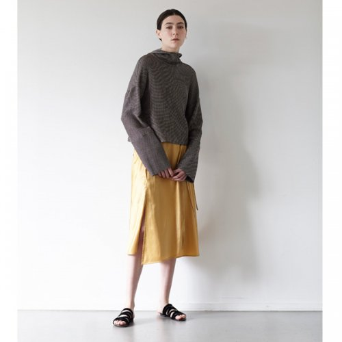 予約商品【ELIN】エリン / Wet Satin Wrap Skirt19ss