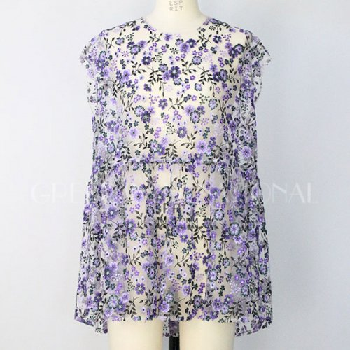 【予約】<br />GREED International<br />FlowerPattern Embroidery SleeveLess Tops