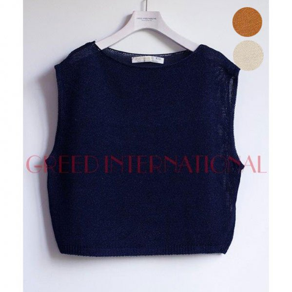 【予約】<br />GREED International<br />Rope Lily Yarn Sleeveless Sweater