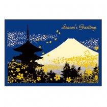 和風フォーマルカード 金富士と五重塔