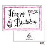 コットンレタープレスカード Birthday Pink.