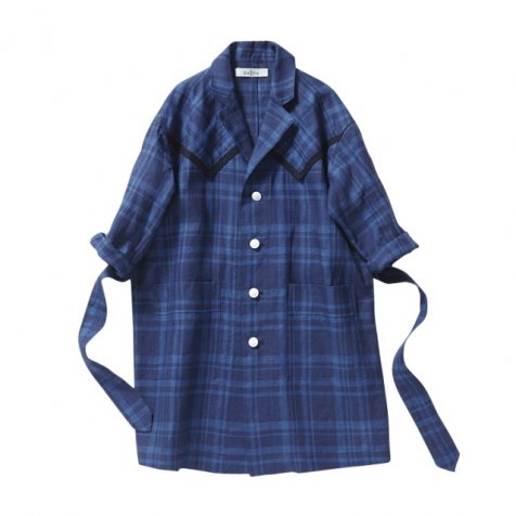 【SALE 50%OFF】linen check long coat blue check