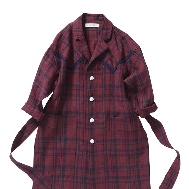 【70%OFF】linen check long coat darkred check img1