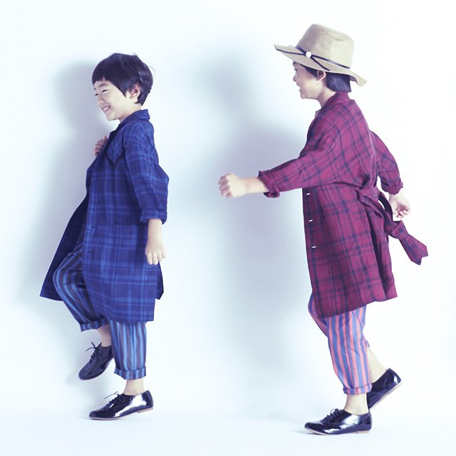 【70%OFF】linen check long coat darkred check img2