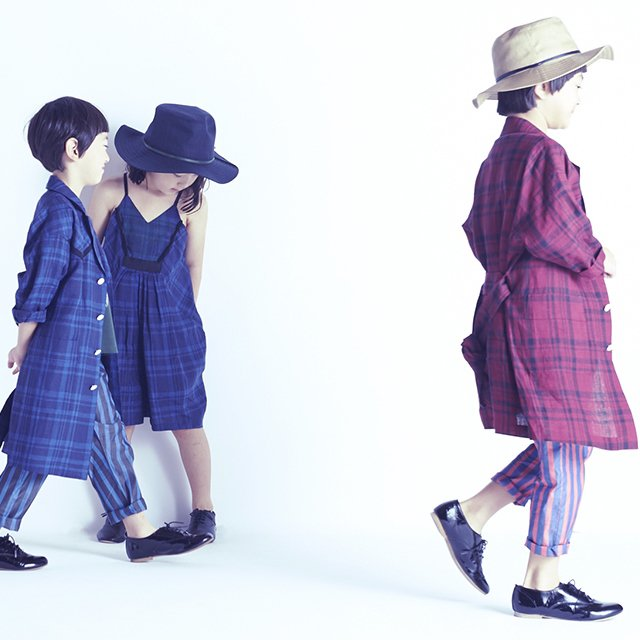 【70%OFF】linen check long coat darkred check img4
