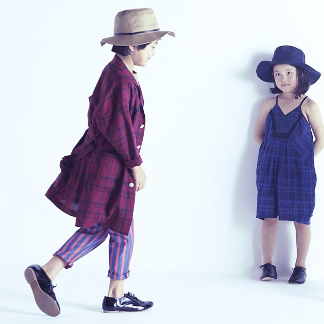 【70%OFF】linen check long coat darkred check img5