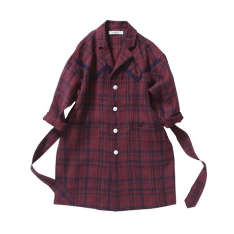 【70%OFF】linen check long coat darkred check