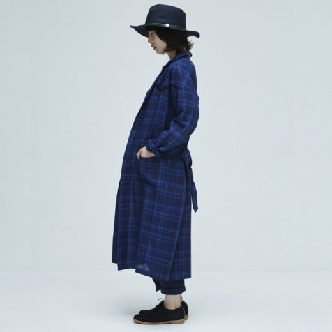 【サマーセール30%OFF】linen check U- long coat blue check