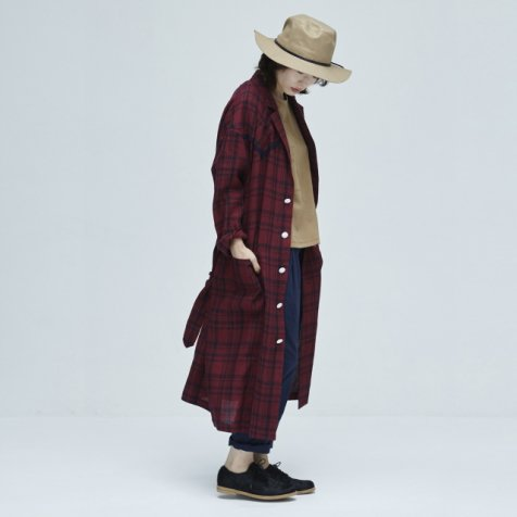 【セール40%OFF】linen check U- long coat darkred check