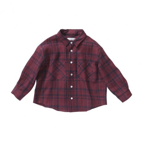 【セール40%OFF】linen check shirt darkred check