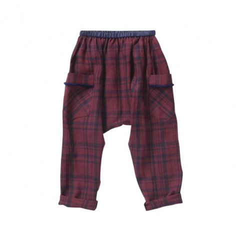 【セール40%OFF】linen check pants darkred check