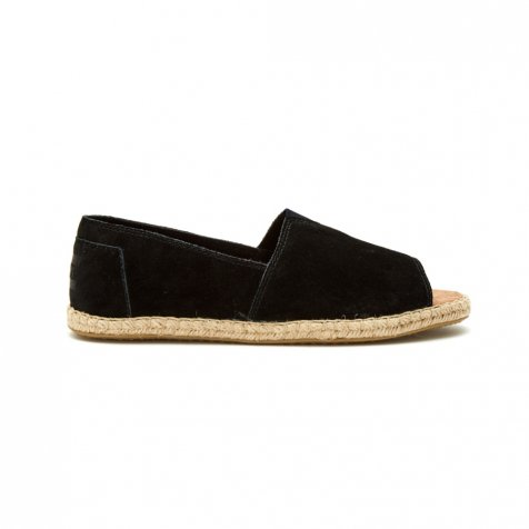 【サマーセール30%OFF】ALPARGATA OPEN TOE Black Suede WOMENS