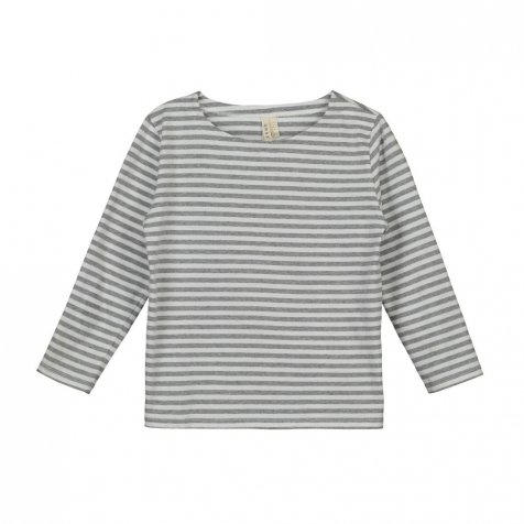 L/S Striped Tee-Grey melange/White