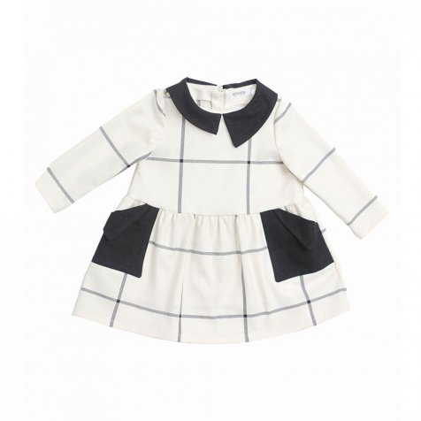 【セール30%OFF】YUMIKO DRESS White and black grid