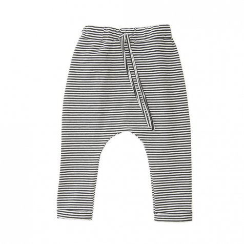 【セール30%OFF】Harem pants Jersey Black / White Stripes