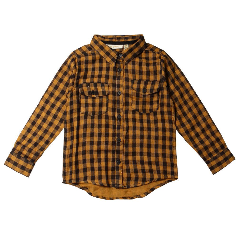 【SALE 60%OFF】Severin Shirt 120. Curry - AOP Double Check img