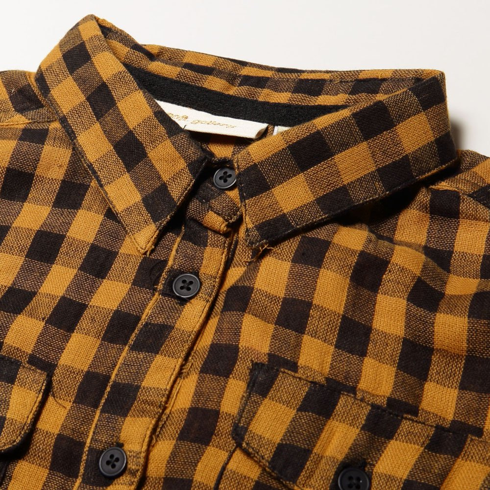 【SALE 60%OFF】Severin Shirt 120. Curry - AOP Double Check img1