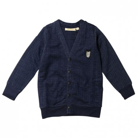 【セール30%OFF】Alvin Sweat Cardigan 365. Blue Herringbone - Owl Patch