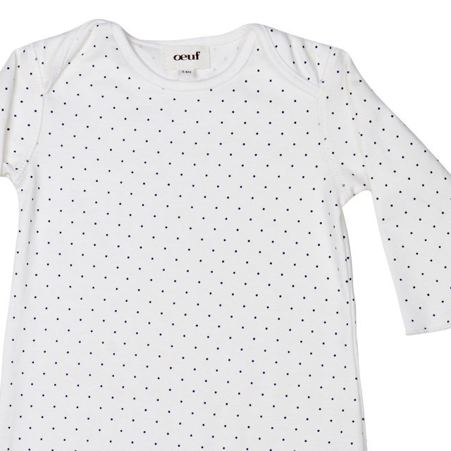 【MORE SALE 50%OFF】Footie Jumper in White/Indigo Dots img1