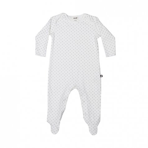【セール30%OFF】Footie Jumper in White/Indigo Dots