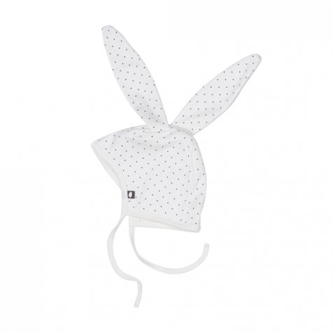 【セール30%OFF】Bunny Hat in White/Indigo Dots