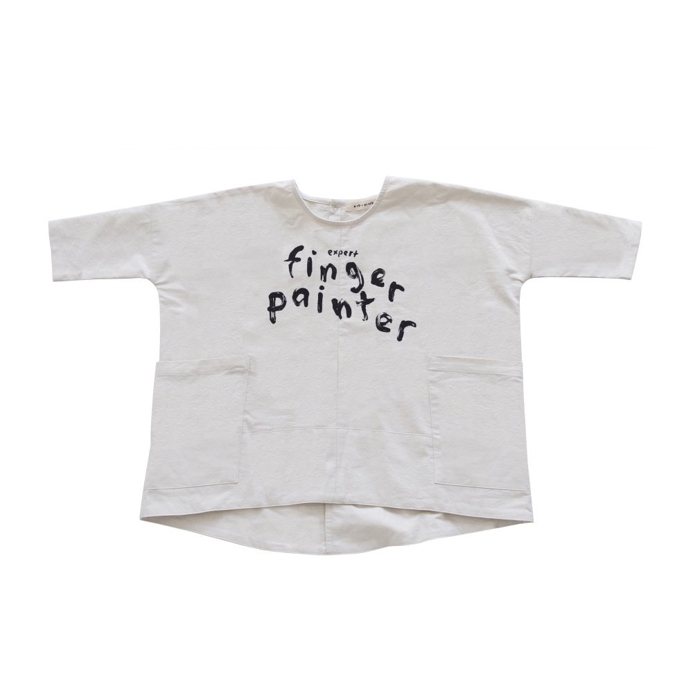 【SALE 50%OFF】FINGERPAINTER OVERSIZED WOVEN DRESS ASH WHITE img