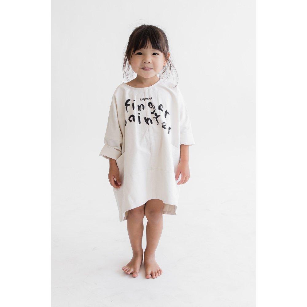 【MORE SALE 60%OFF】FINGERPAINTER OVERSIZED WOVEN DRESS ASH WHITE img2