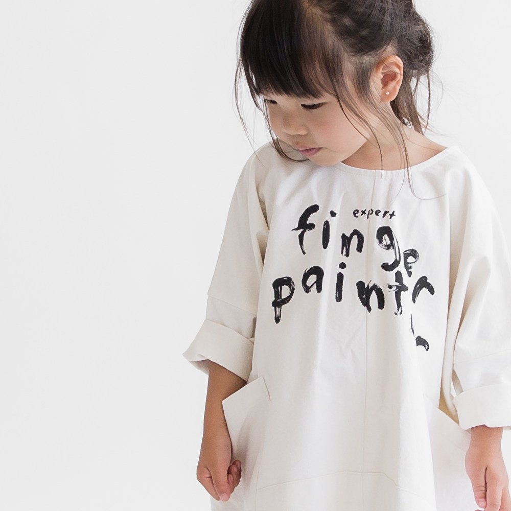 【SALE 50%OFF】FINGERPAINTER OVERSIZED WOVEN DRESS ASH WHITE img3