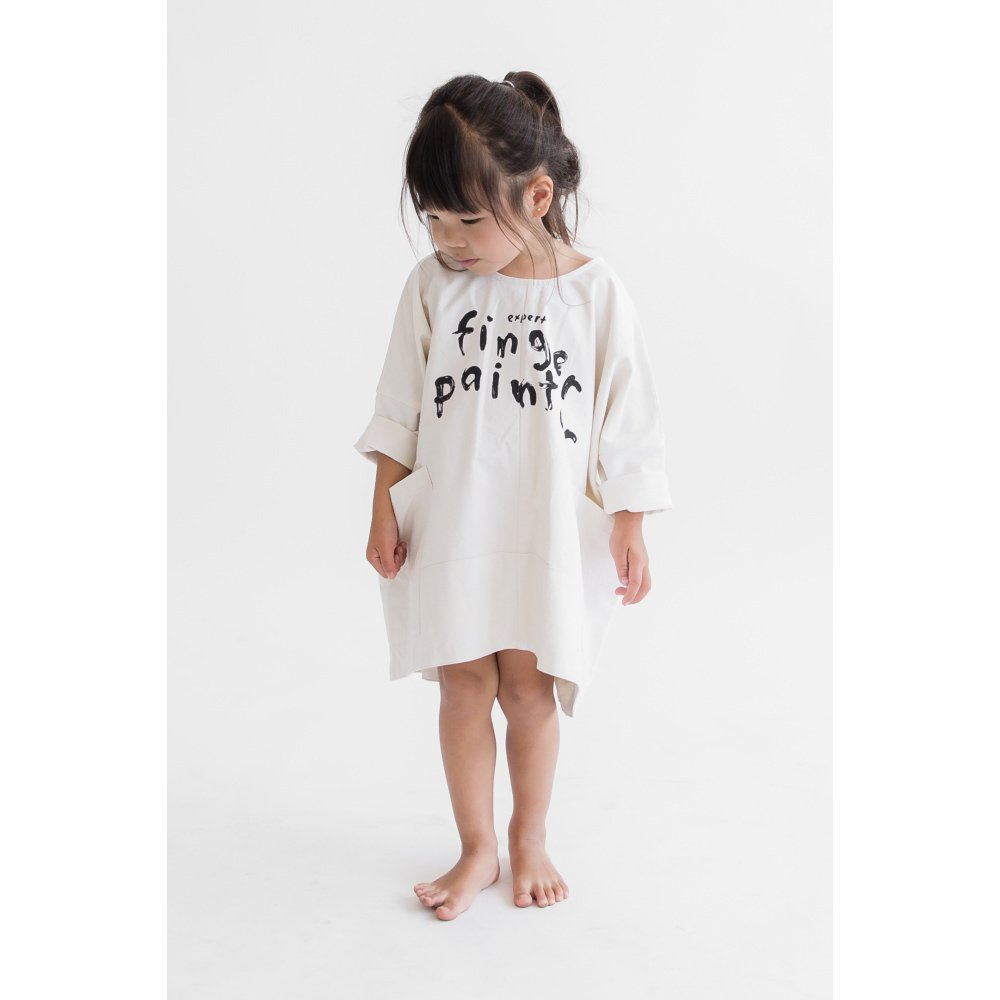 【SALE 50%OFF】FINGERPAINTER OVERSIZED WOVEN DRESS ASH WHITE img4