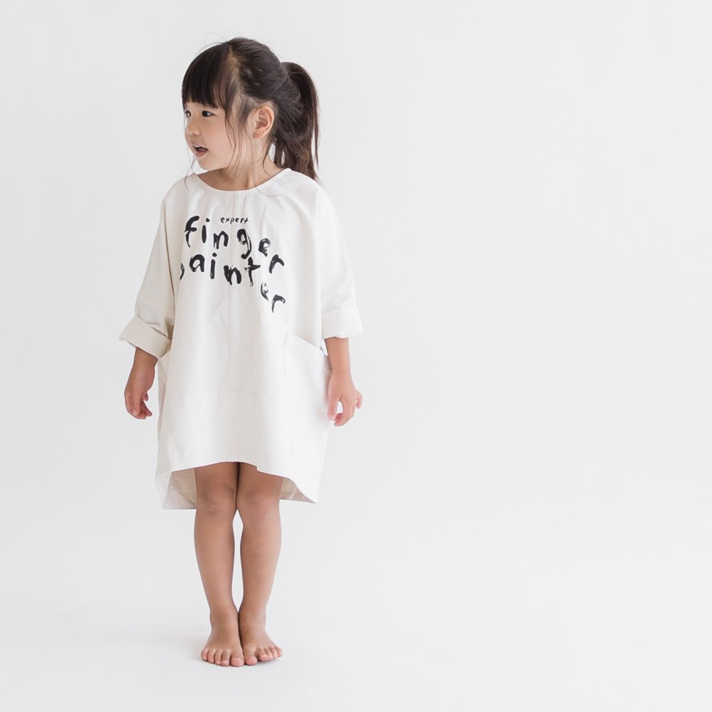 【SALE 50%OFF】FINGERPAINTER OVERSIZED WOVEN DRESS ASH WHITE img5