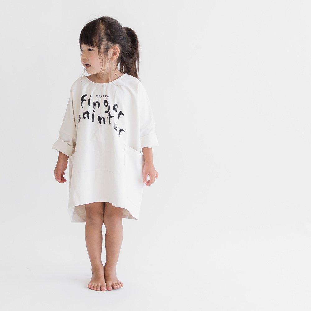 【MORE SALE 60%OFF】FINGERPAINTER OVERSIZED WOVEN DRESS ASH WHITE img5