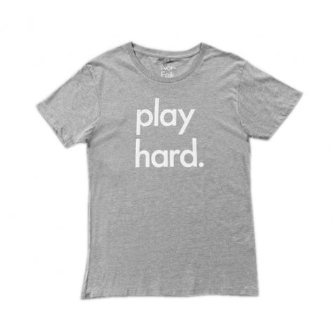 Play Hard unisex adult tee grey