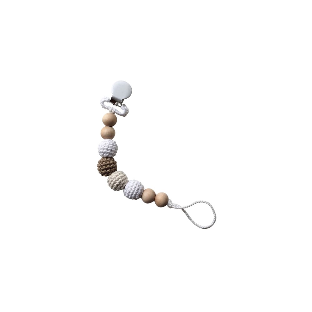 Snickerdoodle Clip Crocheted Beads Pacifier Clip おしゃぶりホルダー img