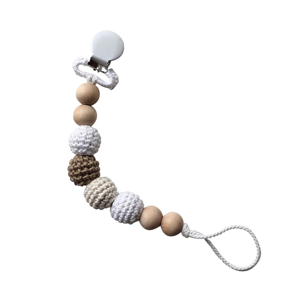 Snickerdoodle Clip Crocheted Beads Pacifier Clip おしゃぶりホルダー img1