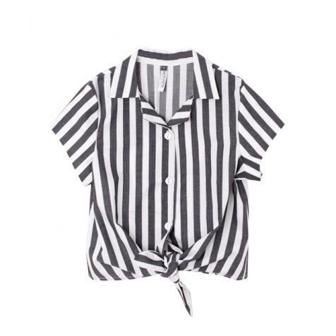 JARA BLOUSE BLACK AND WHITE STRIPES