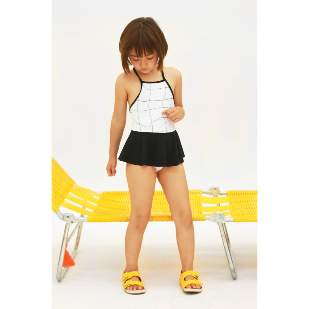 【SALE 50%OFF】GRID PRINT ONE PIECE SWIMSUIT BLACK FRIL img3